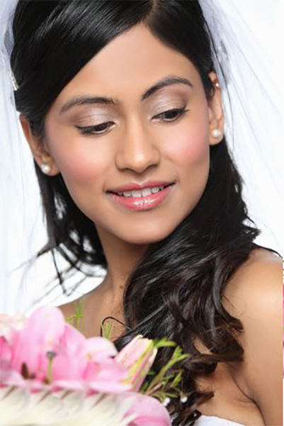 Soft and beautiful wedding makeup for brides and attendants